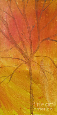 Print featuring the painting Tree Of Three Gold by Robin Maria Pedrero