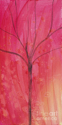 Print featuring the painting Tree Of Three Pink by Robin Maria Pedrero