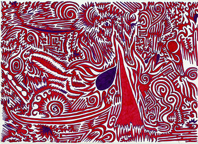 Indian Tribal Art Drawing - Tree On Fire by Byron Phipps