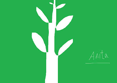 Simplicity Drawing - Tree On Green by Anita Dale Livaditis