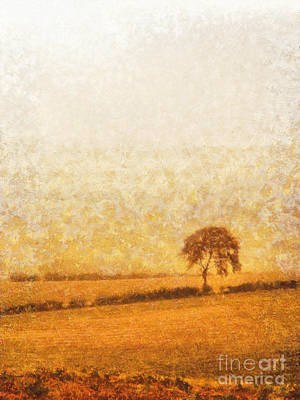 Tree Oil Painting - Tree On Hill At Dusk by Pixel  Chimp