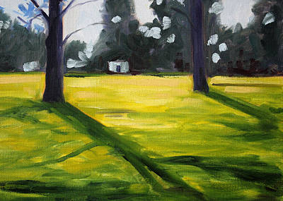 Prairie Sky Art Painting - Tree Shadows by Nancy Merkle