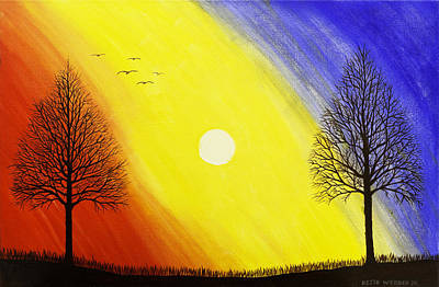 Black Bird.flying Art Painting - Tree Silhouette At Sunset Painting by Keith Webber Jr