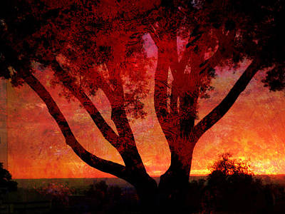 Mixed Media - Tree Silhouette In Sunset Abstraction by John Fish