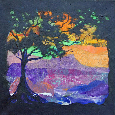 Mountain Valley Mixed Media - Tree Silhouette by Robin Coats