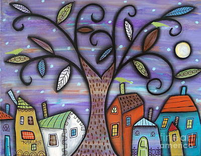 Swirl Tree Painting - Tree Town by Karla Gerard