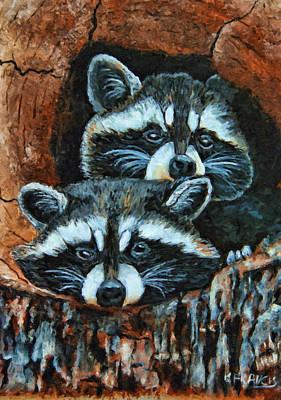 Tree Trunk Raccoons Art Print