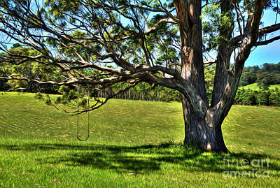 Tree With A Swing Art Print by Kaye Menner