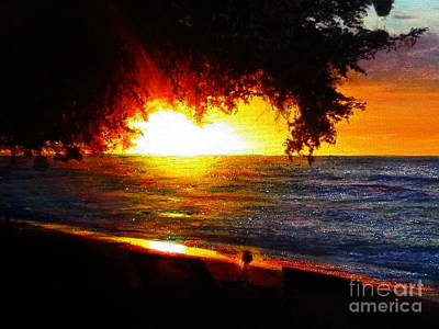 Beach Landscape Mixed Media - Tree With Glitter Sunset by Connie Holman
