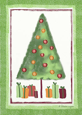 Xmas Cards Digital Art - Tree With Presents by Arline Wagner