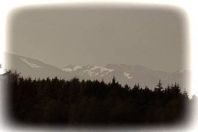 Treeline With Ice Capped Mountains In The Scottish Highlands Art Print
