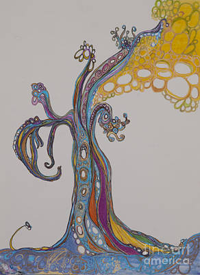 Pink Black Tree Rainbow Drawing - Trees 14 by Christina Naman