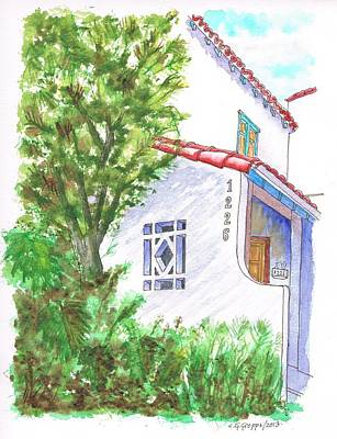 Trees And Colonial House Entrance In West Hollywood - California Art Print