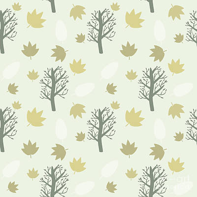 Digital Art - Trees And Leaves Background, Seamless by Yurii Loud