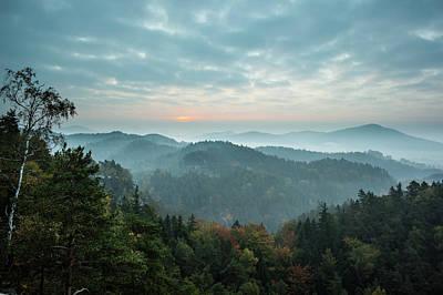 Trees And Mountain Range Against Cloudy Art Print by Wavebreakmedia Ltd