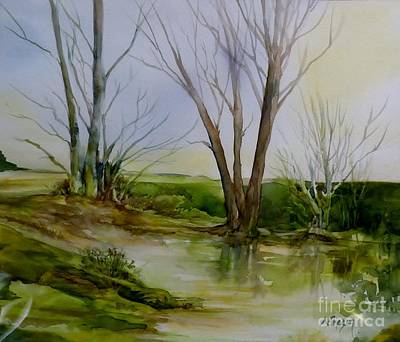 Wet On Wet Painting - Trees And Pond by Donna Acheson-Juillet