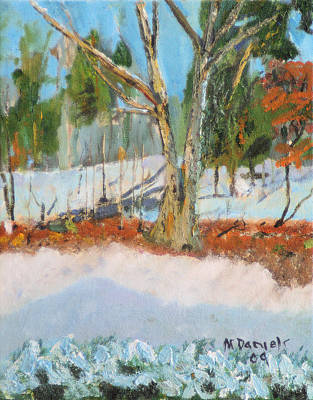 Art Print featuring the painting Trees And Snow Plein Air by Michael Daniels