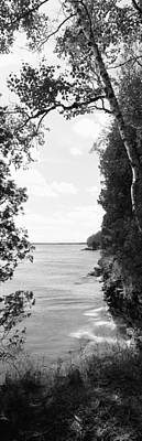 Lakeside Photograph - Trees At The Lakeside, Cave Point by Panoramic Images