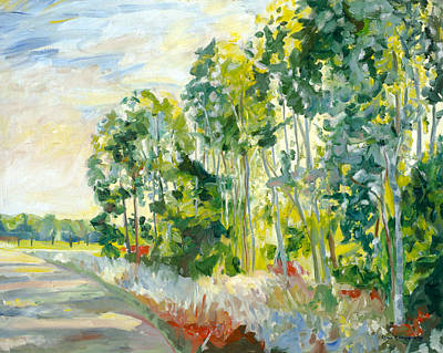 Trees By A Road Art Print