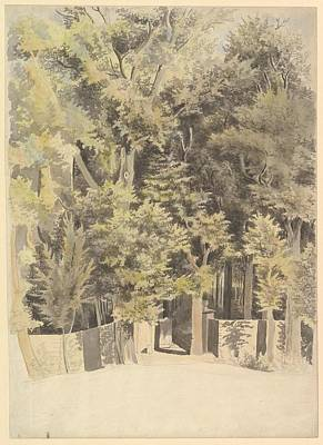 Forrest Drawing - Trees By An Entrance To A Park by Theodosius Forrest
