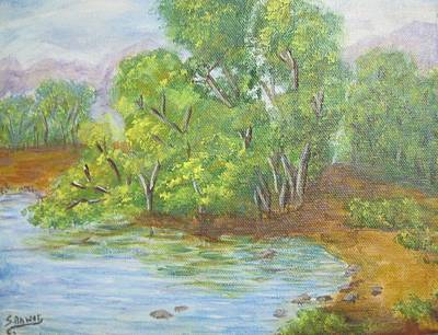 Branch Hill Pond Painting - Trees By The Pond by Anwar Sahib