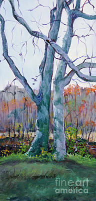 Cades Cove Painting - Sister Trees by Janet Felts