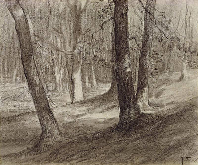 Trees In A Forest Art Print by Jean-Francois Millet