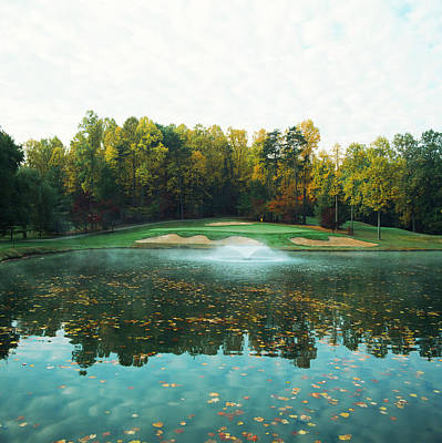 11th Green Photograph - Trees In A Golf Course, Congressional by Panoramic Images