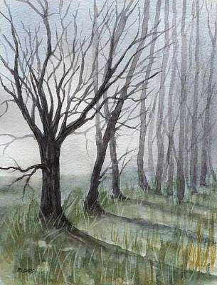 Trees In Fog Art Print by Rebecca Davis