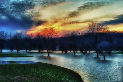 Indiana Landscapes Photograph - Trees In Water On Flooded Golf Course by Rona Schwarz