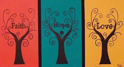 Trees Of Faith Hope Love Triptic Art Print by Cindy Micklos