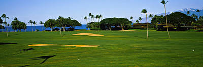 Golf Photograph - Trees On A Golf Course,kaanapali Golf by Panoramic Images