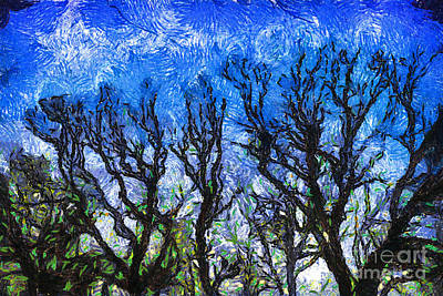 Trees On Blue Night Sky Digital Painting Artwork Art Print by Amy Cicconi