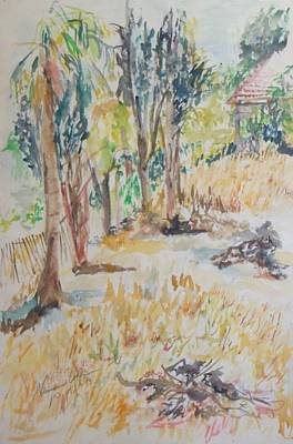 Painting - Trees On Efrata Street In Talpiot Jerusalem by Esther Newman-Cohen