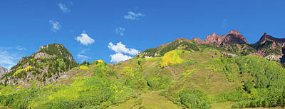 White River Scene Photograph - Trees On Mountain, Maroon Bells, Maroon by Panoramic Images
