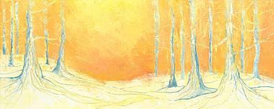 Mystical Landscape Painting - Trees On Orange by Priscilla  Jo