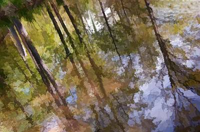 Photograph - Trees Reflected Watercolor by Phyllis Meinke