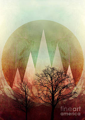 Trees Under Magic Mountains I Art Print