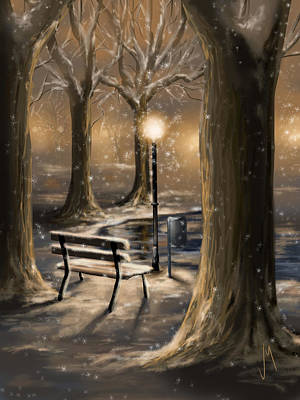 Snowy Night Digital Art - Trees by Veronica Minozzi
