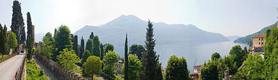 Lake Como Photograph - Trees With A Lake In Background, Lake by Panoramic Images