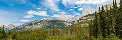 Trees With Canadian Rockies Art Print by Panoramic Images