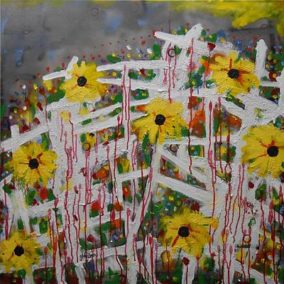 Painting - Trellis Fall Flower Garden by Gh FiLben