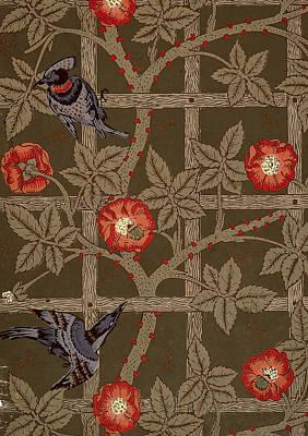 Trellis With Birds Print by William Morris