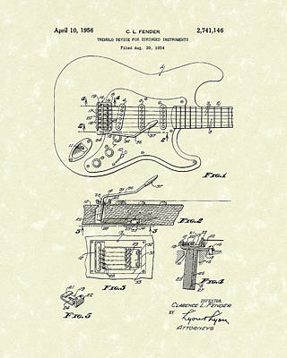Drawing - Tremolo Device 1956 Patent Art by Prior Art Design