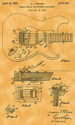 Photograph - Tremolo Device Patent by Michael Porchik