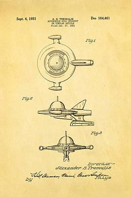 Enterprise Photograph - Tremulis Spaceship Hood Ornament Patent Art 1951 by Ian Monk