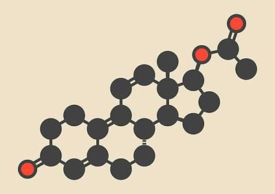 Trenbolone Acetate Molecule Art Print by Molekuul