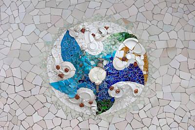 Trencadis Mosaic In Park Guell In Barcelona Art Print by Artur Bogacki