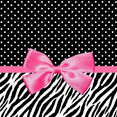 Digital Art - Trendy Zebra Print Pink Ribbon by Tracie Kaska