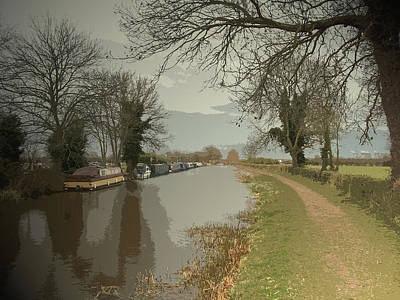 Trent And Mersey Canal Near Chapel Farm, Boats Moored Art Print